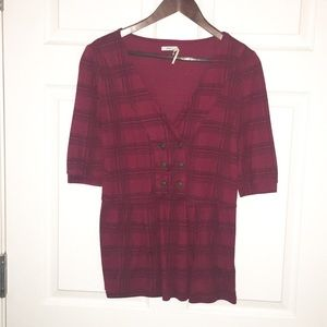 Urban Outfitters Red Plaid Blouse